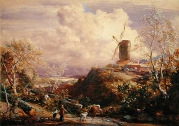 Windmill on a Hill with Cattle Drovers   John Constable   oil painting