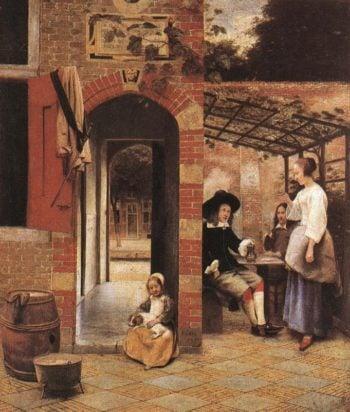 Drinkers in the Bower 1658 | Pieter De Hooch | oil painting