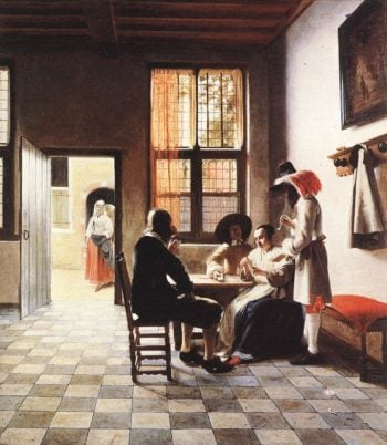 Cardplayers in a Sunlit Room 1658 | Pieter De Hooch | oil painting