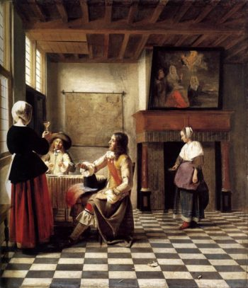 A Woman Drinking with Two Men 1658 | Pieter De Hooch | oil painting