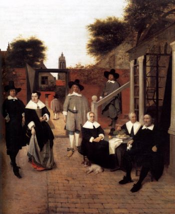 Portrait of a Family in a Courrtyard in Delft 1658-60 | Pieter De Hooch | oil painting