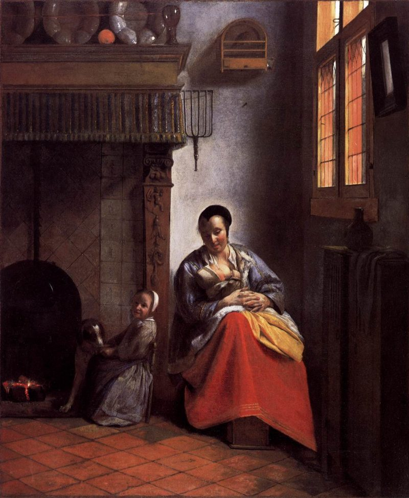 A Woman Nursing an Infant with a Child and a Dog 1558-60   Pieter De Hooch   oil painting