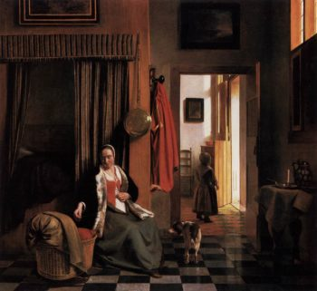 Mother Lacing Her Bodice beside a Cradle 1659-60 | Pieter De Hooch | oil painting