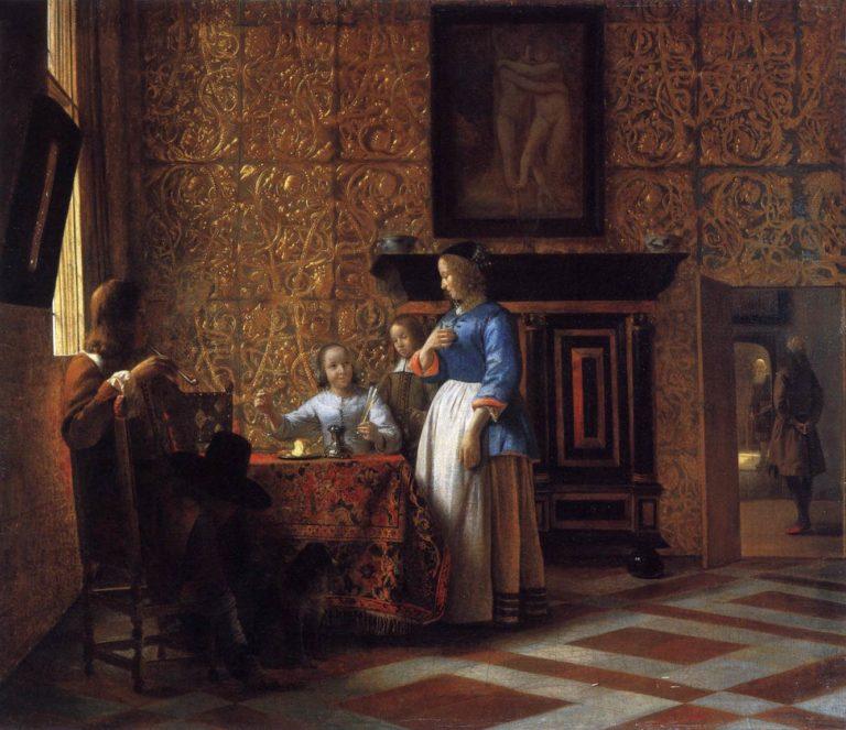 Interior with Figures 1663-65   Pieter De Hooch   oil painting