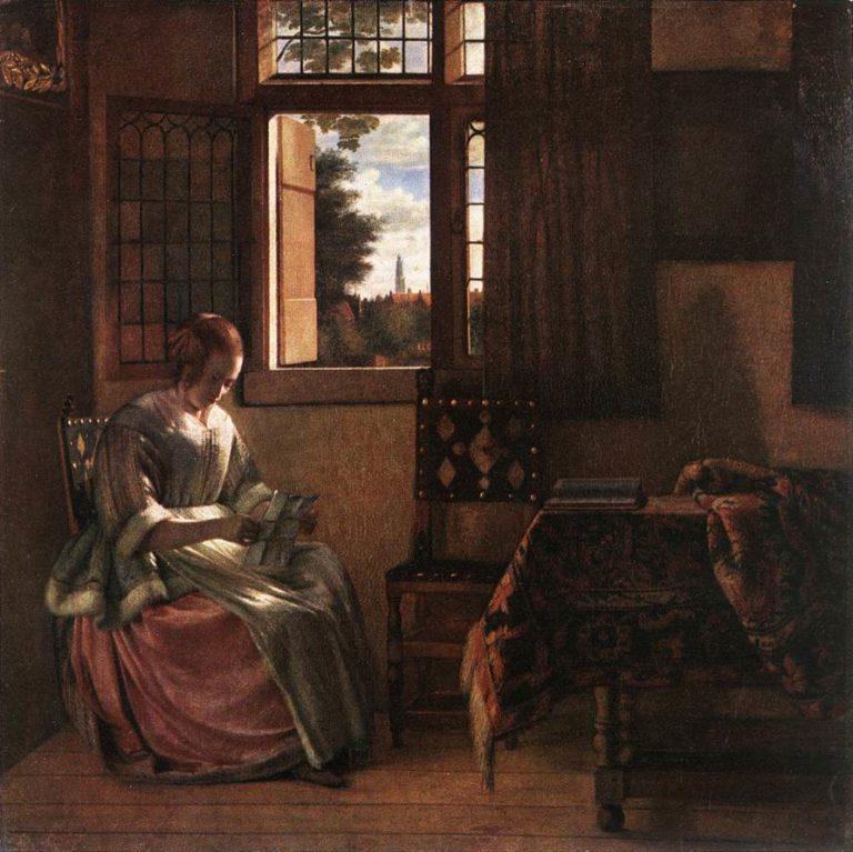 Woman Reading a Letter 1664   Pieter De Hooch   oil painting