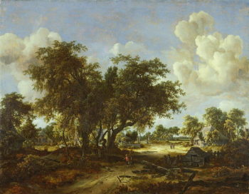 Wooded Landscape with Cottages 1665 | Meindert Hobbema | oil painting