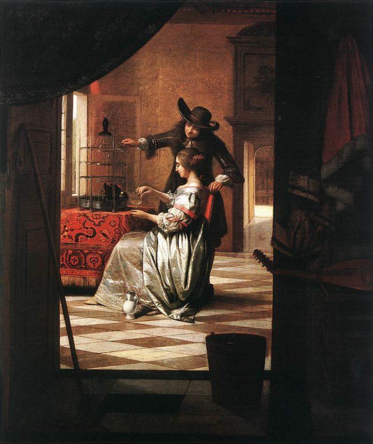 Couple with Parrot 1668 | Pieter De Hooch | oil painting