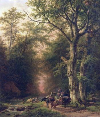 Wooded Landscape with peasants | Barend Cornelis Koekkoek | oil painting
