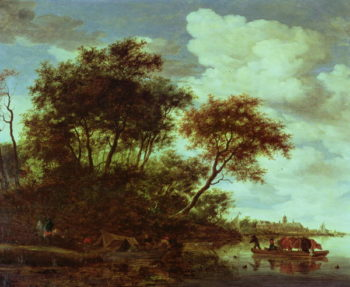 Wooded River Landscape with Cattle on a Ferry | Salomon van Ruisdael or Ruysdael | oil painting