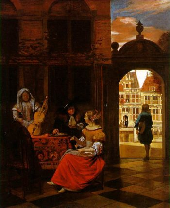 Musical Party in a Courtyard 1677 | Pieter De Hooch | oil painting