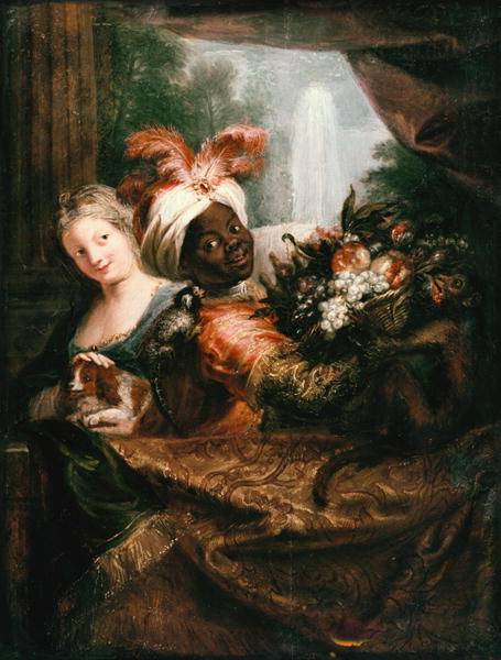 Young Black Man Holding a Basket of Fruit and a Young Girl Stroking a Dog   Antoine Coypel   oil painting