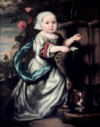 Young girl at a fountain 1662   Nicolaes Maes   oil painting