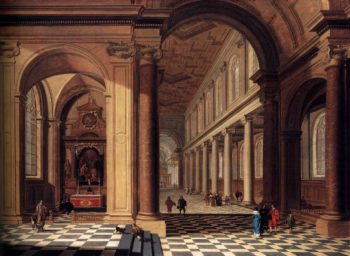 Interior of an Imaginary Catholic Church in Classical Style 1638-40 | Gerard Houckgeest | oil painting