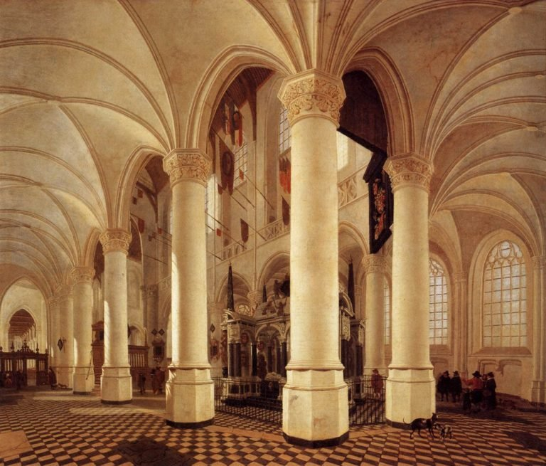 Ambulatory of the New Church in Delft with the Tomb of Willem the Silent 1651 | Gerard Houckgeest | oil painting