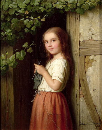 Young Girl Standing in a Doorway Knitting 1863 | Meyer von Bremen | oil painting