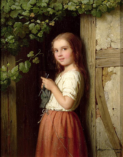 Young Girl Standing in a Doorway Knitting 1863 | Meyer von Bremen | oil painting