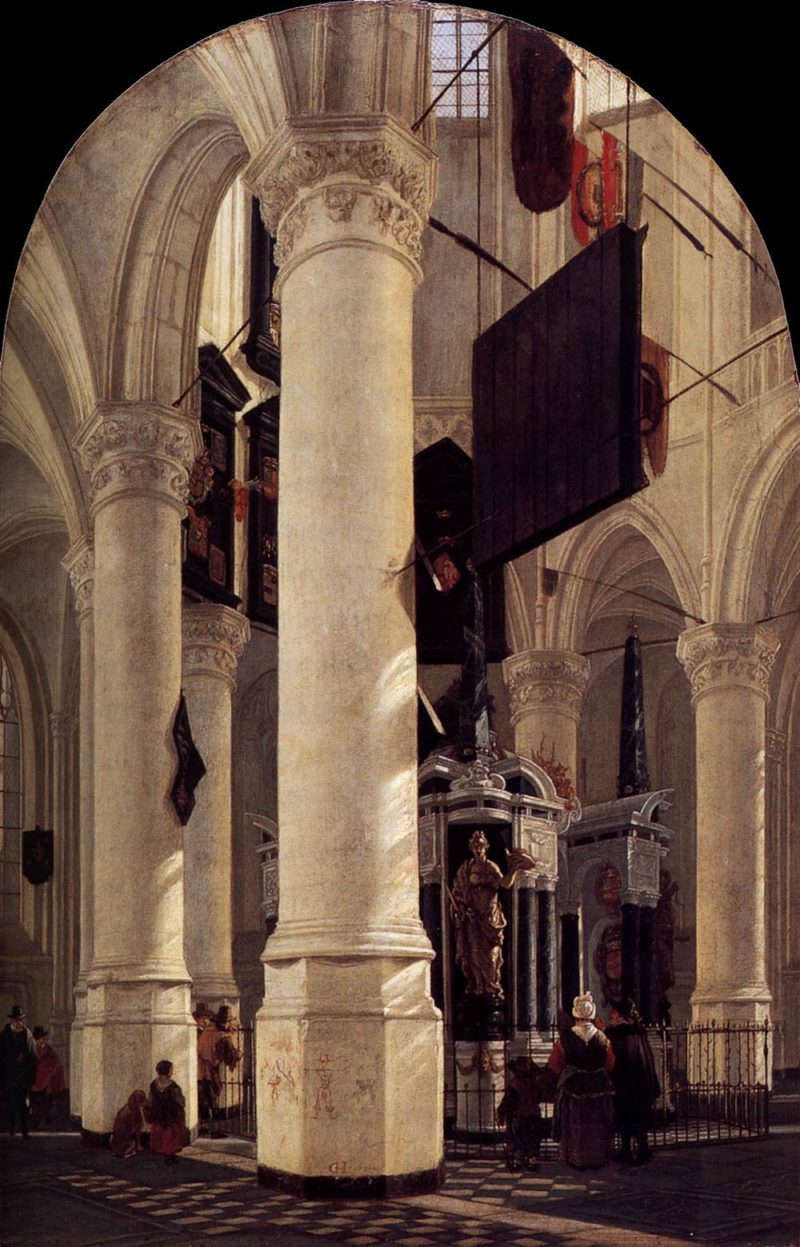 The Nieuwe Kerk in Delft with the Tomb of William the Silent 1651 | Gerard Houckgeest | oil painting