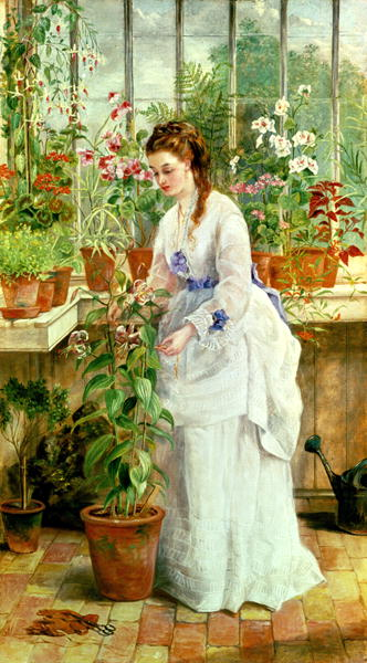 Young Lady in a Conservatory | Jane Maria Bowkett | oil painting
