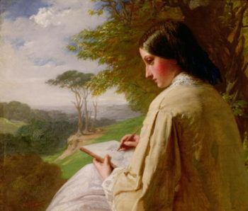 Young Lady sketching in a landscape   Henry Le Jeune   oil painting