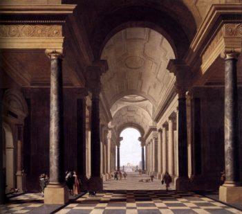 View through an Arcade 1638 | Gerard Houckgeest | oil painting