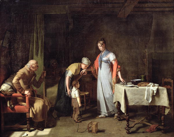 Young Woman Helping an Unfortunate Family | Martin Drolling | oil painting