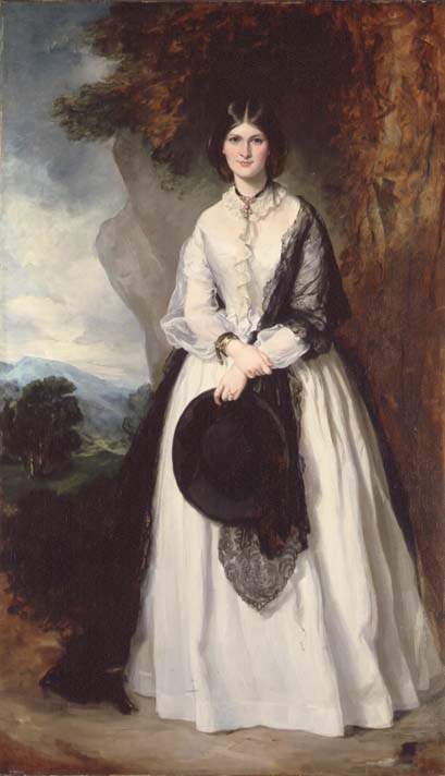 Young woman in white dress against a landscape | Sir Francis Gran | oil painting
