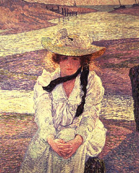 Young Woman on the Banks of the Greve River 1901 | Theo van Rysselberghe | oil painting