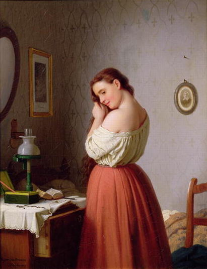 Young Woman Plaiting her Hair | Meyer von Bremen | oil painting