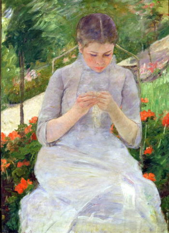 Young Woman Sewing in the garden 1880 82 | Mary Stevenson Cassatt | oil painting