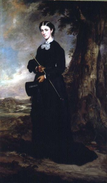 Young woman wearing a black riding habit and standing in a landscape | Sir Francis Grant | oil painting