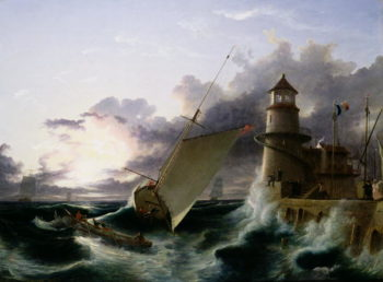 Boat by a Lighthouse a Squall Going Off | Francis Danby | oil painting