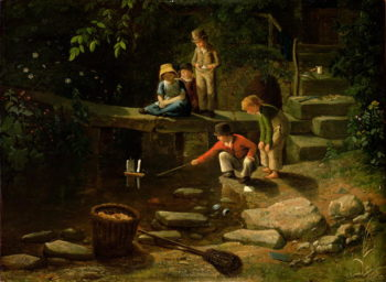 Boy Sailing a Little Boat | Francis Danby | oil painting