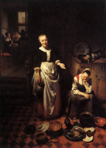 The Idle Servant 1655   Nicolaes Maes   oil painting
