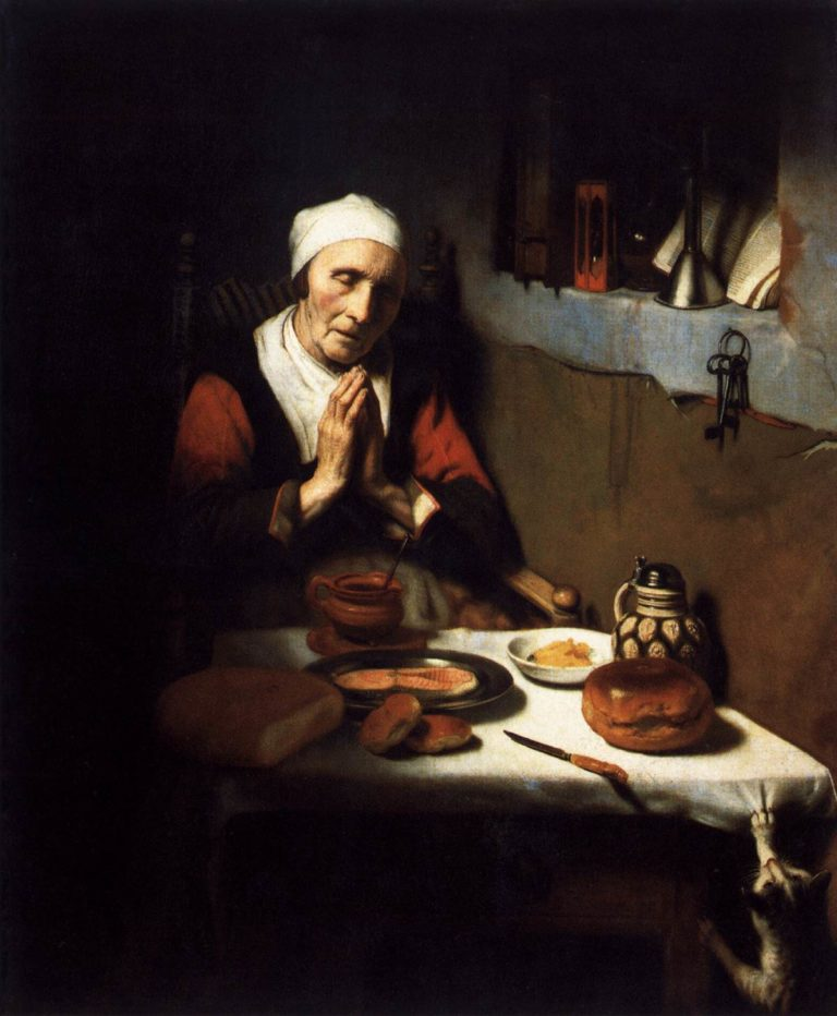 Old Woman Saying Grace 1656 | Nicolaes Maes | oil painting