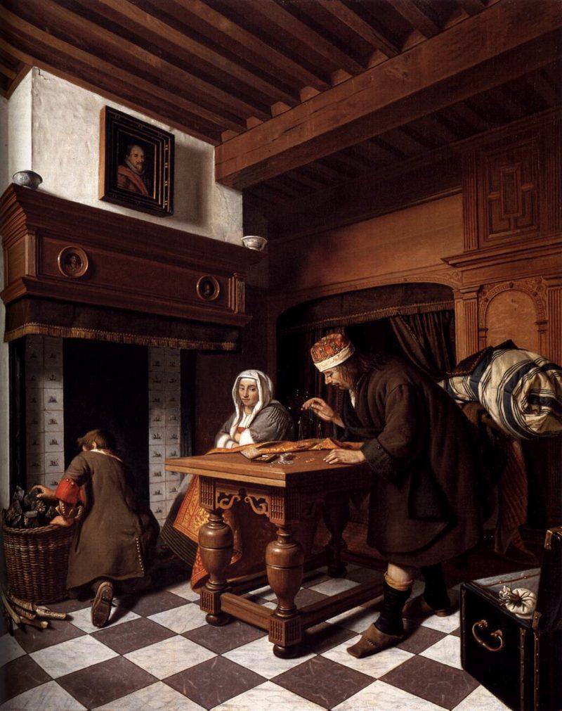A Man Weighing Gold 1670 | Cornelis De Man | oil painting