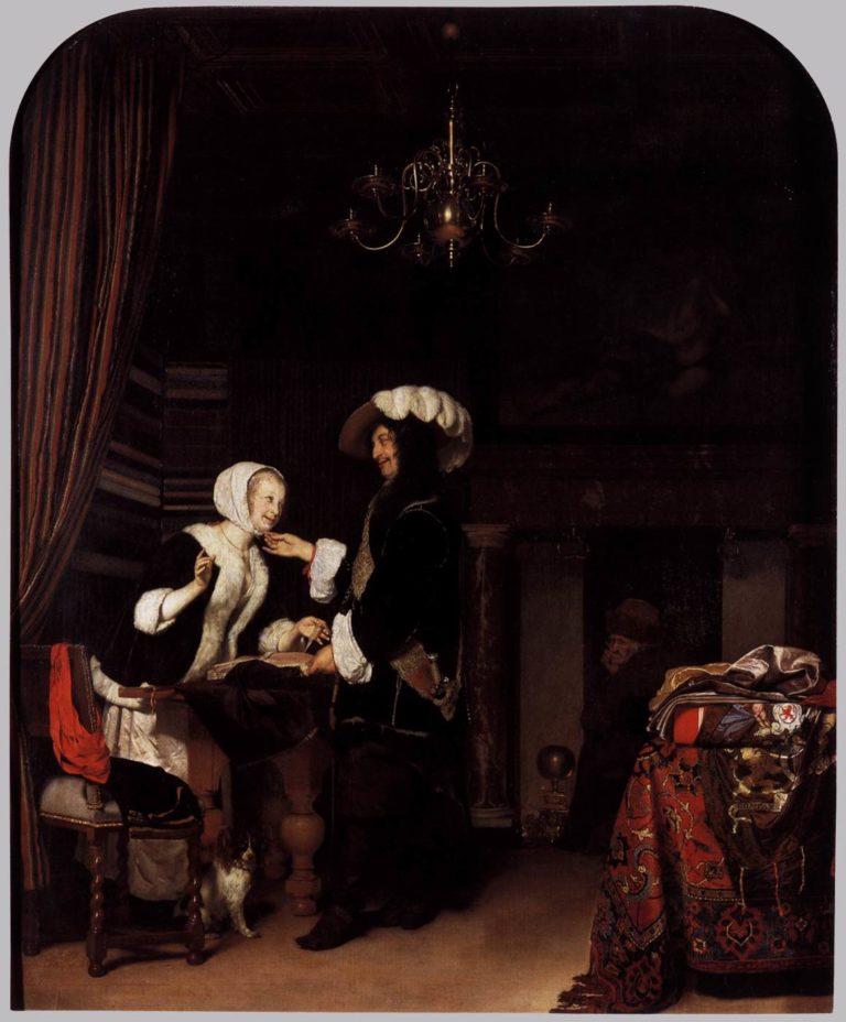 The Cloth Shop 1660   Frans Van Mieris   oil painting