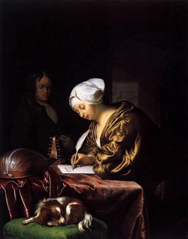 Woman Writing a Letter 1680 | Frans Van Mieris | oil painting