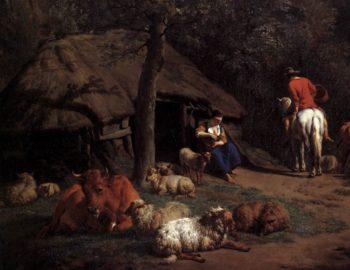The Hut (detail) 1671 | Adriaen Van De Velde | oil painting