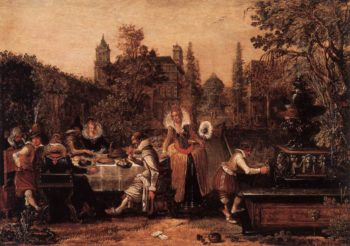 Garden Party before a Palace 1614 | Esaias Van De Velde | oil painting