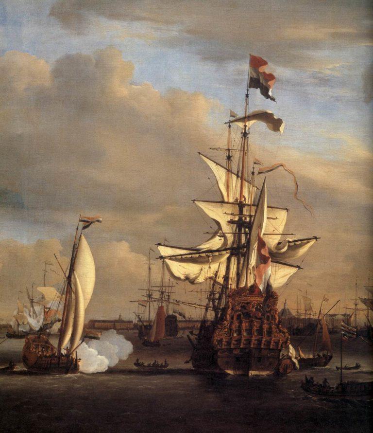 """The """"Gouden Leeuw"""" before Amsterdam (detail) 1686   Willem Van De Velde   oil painting"""