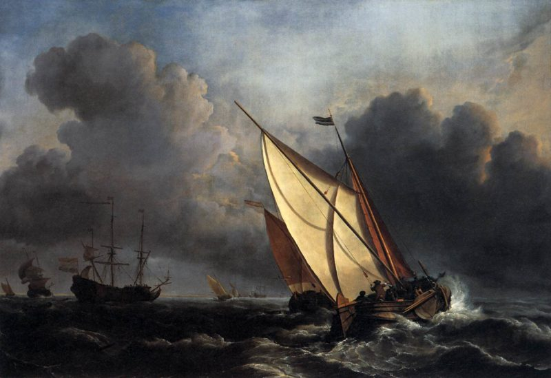 Ships on a Stormy Sea 1672 | Willem Van De Velde | oil painting