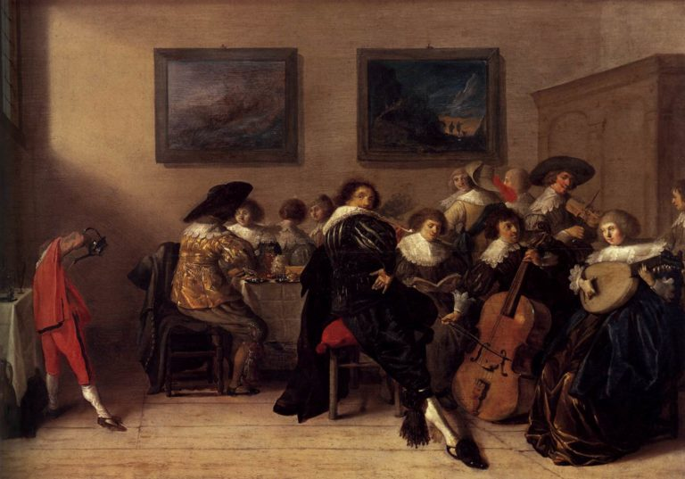 Company Dining and Making Music 1632 | Anthonie Palamedesz | oil painting