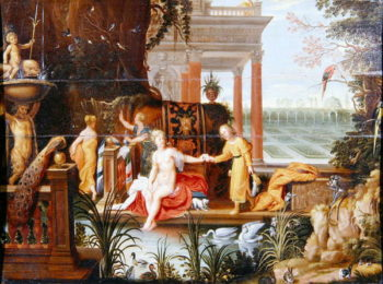 Bathsheba at the pool with her attendants | Hendrik van the Elder Balen | oil painting