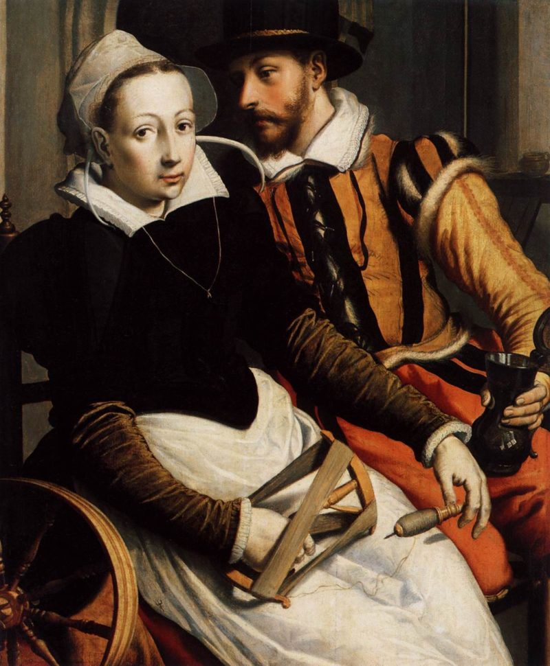 Man and Woman by the Spinning Wheel 1570 | Pieter Pietersz | oil painting