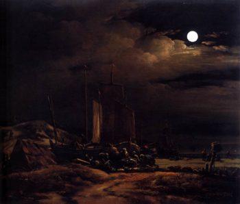 Seashore by Moonlight 1660-64 | Egbert Van Der Poel | oil painting