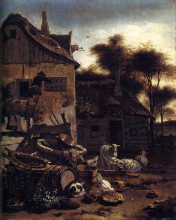 Barnyard Scene 1658 | Egbert Van Der Poel | oil painting