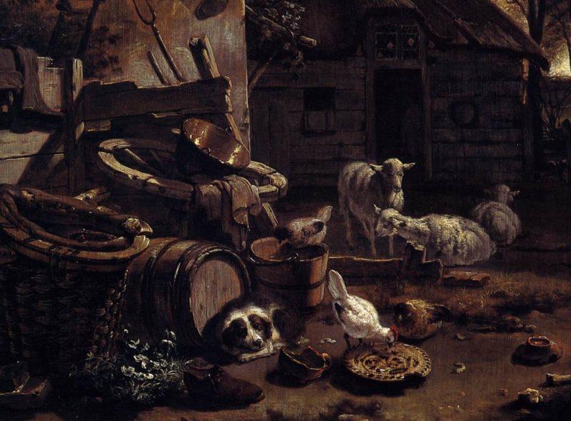 Barnyard Scene (detail) 1658 | Egbert Van Der Poel | oil painting