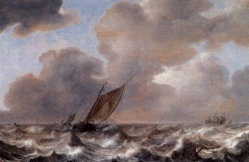 Vessels in a Strong Wind 1630 | Jan Porcellis | oil painting