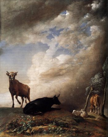 Cattle and Sheep in a Stormy landscape 1647 | Paulus Potter | oil painting