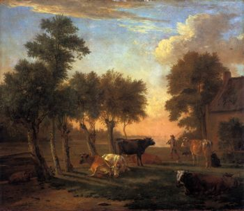 Cows in a Meadow by a Farm 1653 | Paulus Potter | oil painting